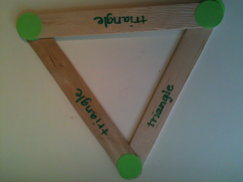 Make the sticks create a triangle.